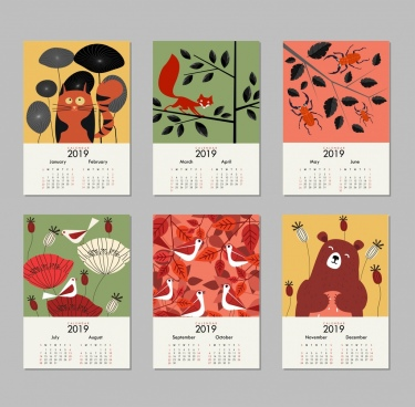 2019 calendar background sets nature theme multicolored decor