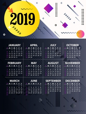 2019 Calendar Free Vector Download 1 532 Free Vector For
