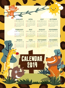 2019 calendar template animal theme decor