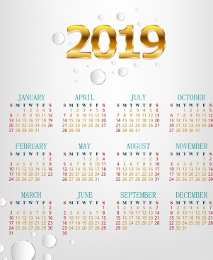 2019 calendar template bright modern golden number decor