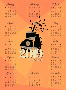 2019 calendar template classical guitar flower pot decor