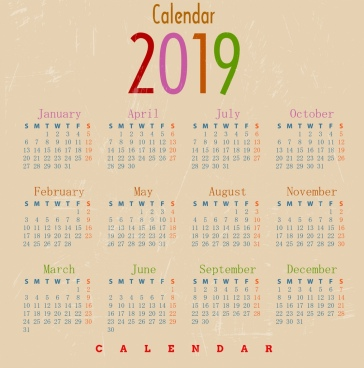 2019 calendar template classical retro design