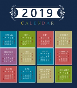 2019 calendar template colorful classical decor