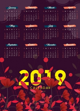 2019 calendar template dark design red flowers ornament