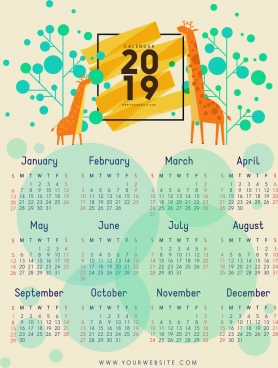 2019 calendar template giraffe tree icons circles decor