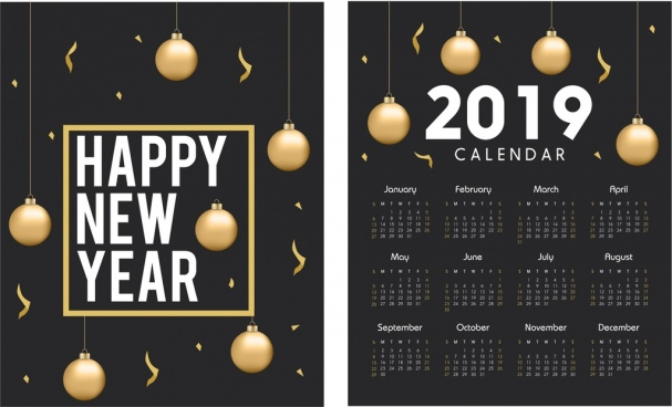2019 calendar template golden baubles elegant black