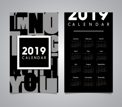 2019 calendar template modern black white design