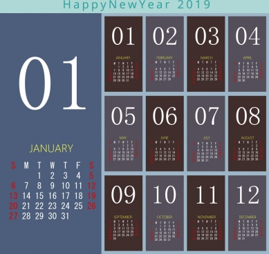 2019 calendar template modern design