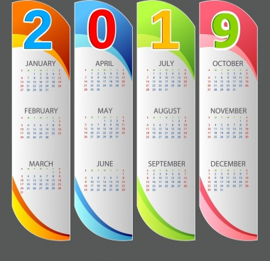 2019 calendar template multicolored modern vertical bars