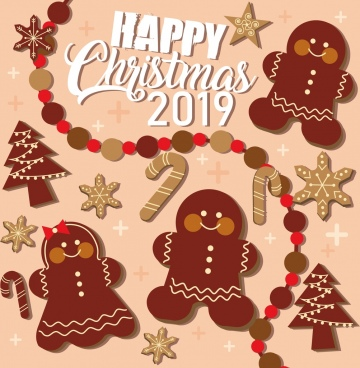 2019 christmas banner classical flat icons decor