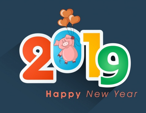 2019 new year banner colorful number pig icons