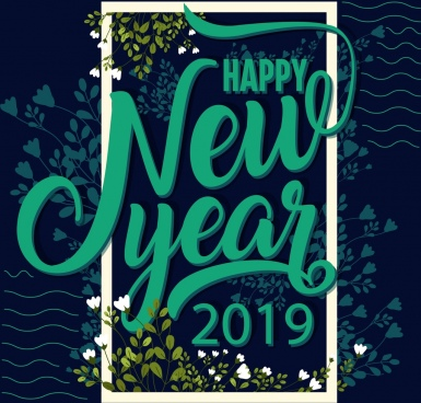2019 new year banner dark green flowers decor