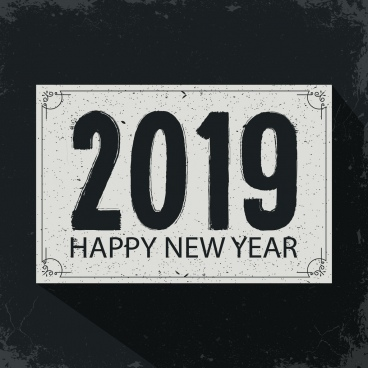 2019 new year banner dark grey classical decor