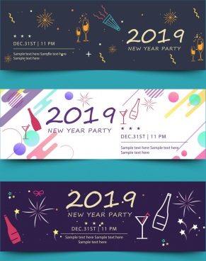 2019 new year party banner colorful modern decor