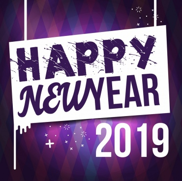 2019 new year banner grunge text numbers decor