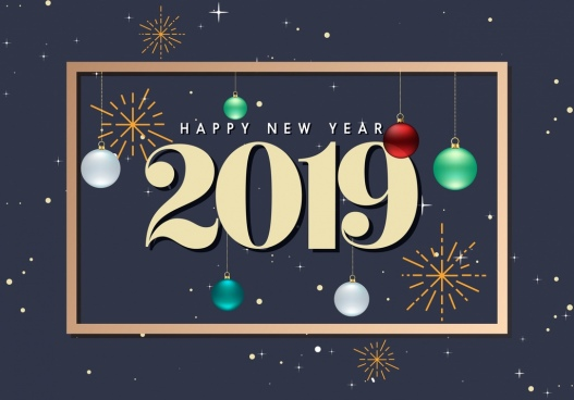 2019 new year poster number bauble fireworks decor