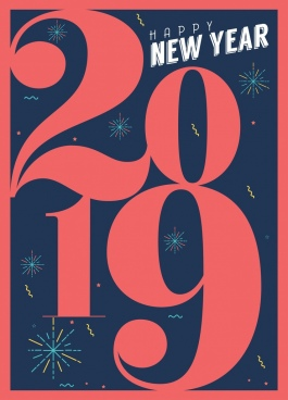 2019 new year posters red numbers fireworks decor