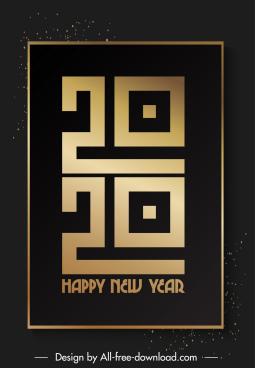 2020 calendar cover template elegant dark black golden