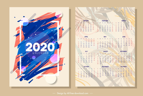 2020 calendar template abstract blurred design leaves ornament