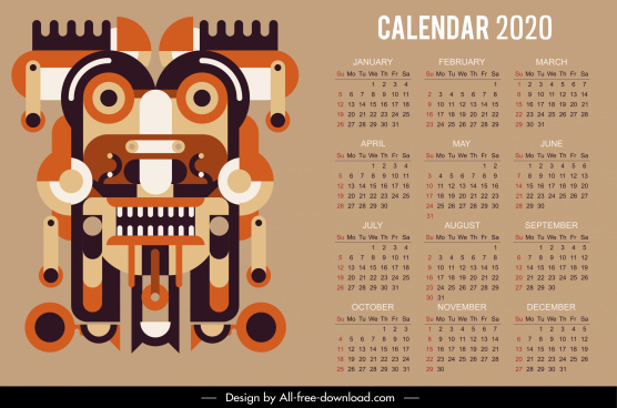 2020 calendar template abstract symmetrical ethnic decor