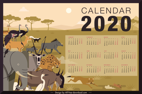 2020 calendar template africa animals theme colorful classic