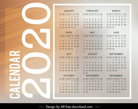 2020 calendar template bright modern plain vertical layout