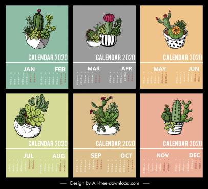 2020 calendar template cactus pots decor classic design