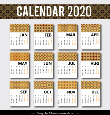 2020 calendar template classical repeating patterns decor
