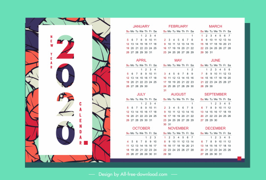 2020 calendar template colorful leaves decor vertical design