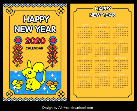 2020 calendar template colorful oriental decor rat icon