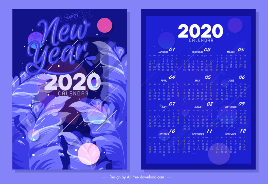 2020 calendar template dark blue design leaves ornament