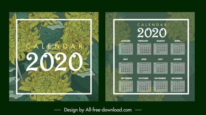 2020 calendar template dark green blurred floral sketch