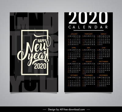 2020 calendar template elegant black white blurred decor