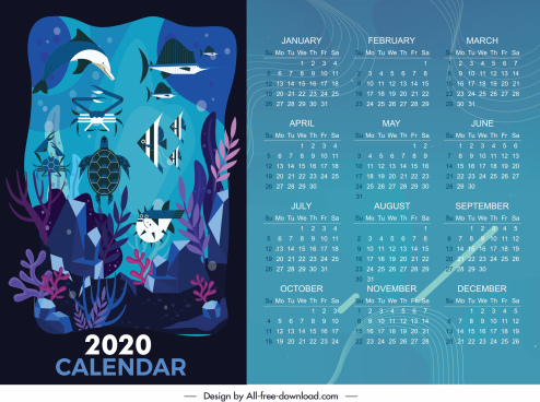 2020 calendar template marine species decor