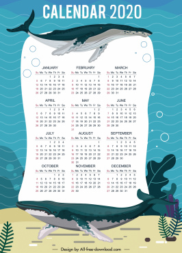 2020 calendar template marine whales decor