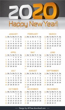 2020 calendar template modern 3d decor