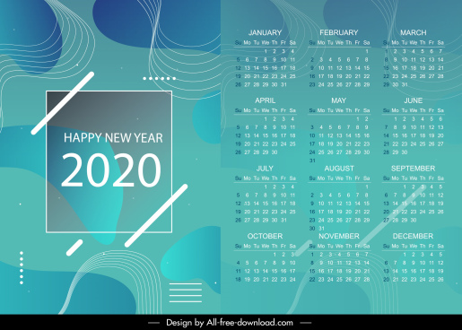 2020 calendar template modern abstract dynamic curves decor