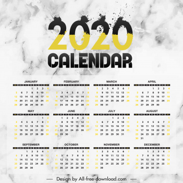 2020 calendar template modern grunge ink number decor