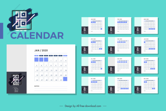 2020 calendar template modern simple plain design