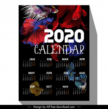 2020 calendar template multicolored ornamental fishes decor