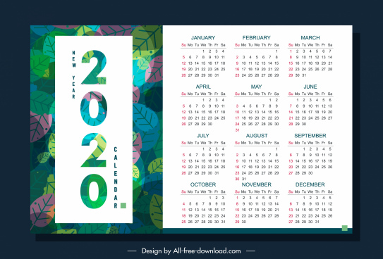 2020 calendar template nature theme colorful leaves decor