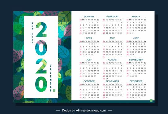2020 calendar template nature theme colorful leaves decor