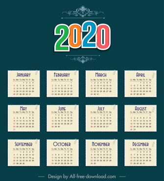 2020 calendar template paper sticker notes sketch