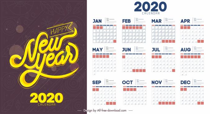 2020 calendar template simple flat decor contrast design