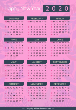 2020 calendar template simple violet plain blurred leaves
