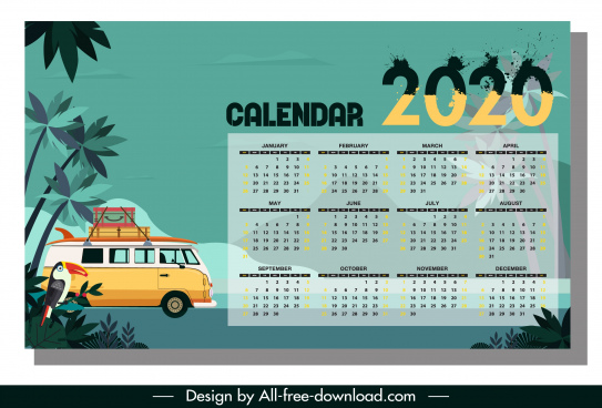 2020 calendar template travel theme colorful classic