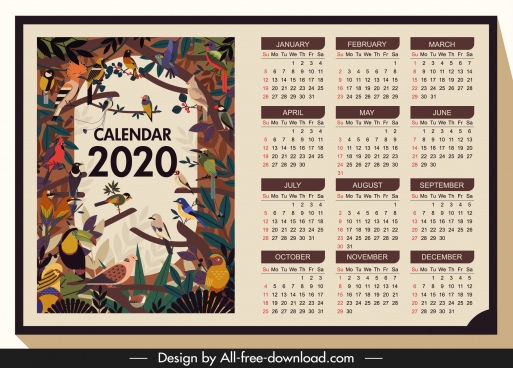 2020 calendar template wild birds theme colorful classic