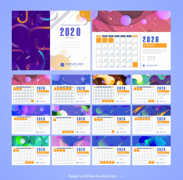 2020 calendar templates colorful abstract modern decor