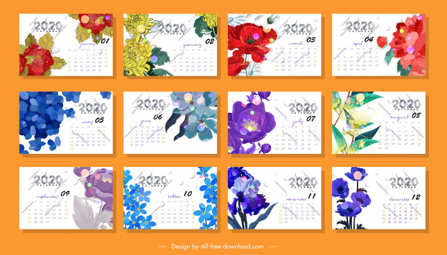 2020 calendar templates colorful botany decor
