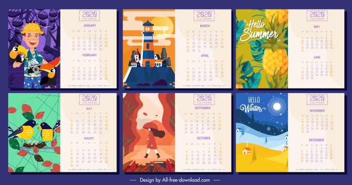 2020 calendar templates colorful themes decor